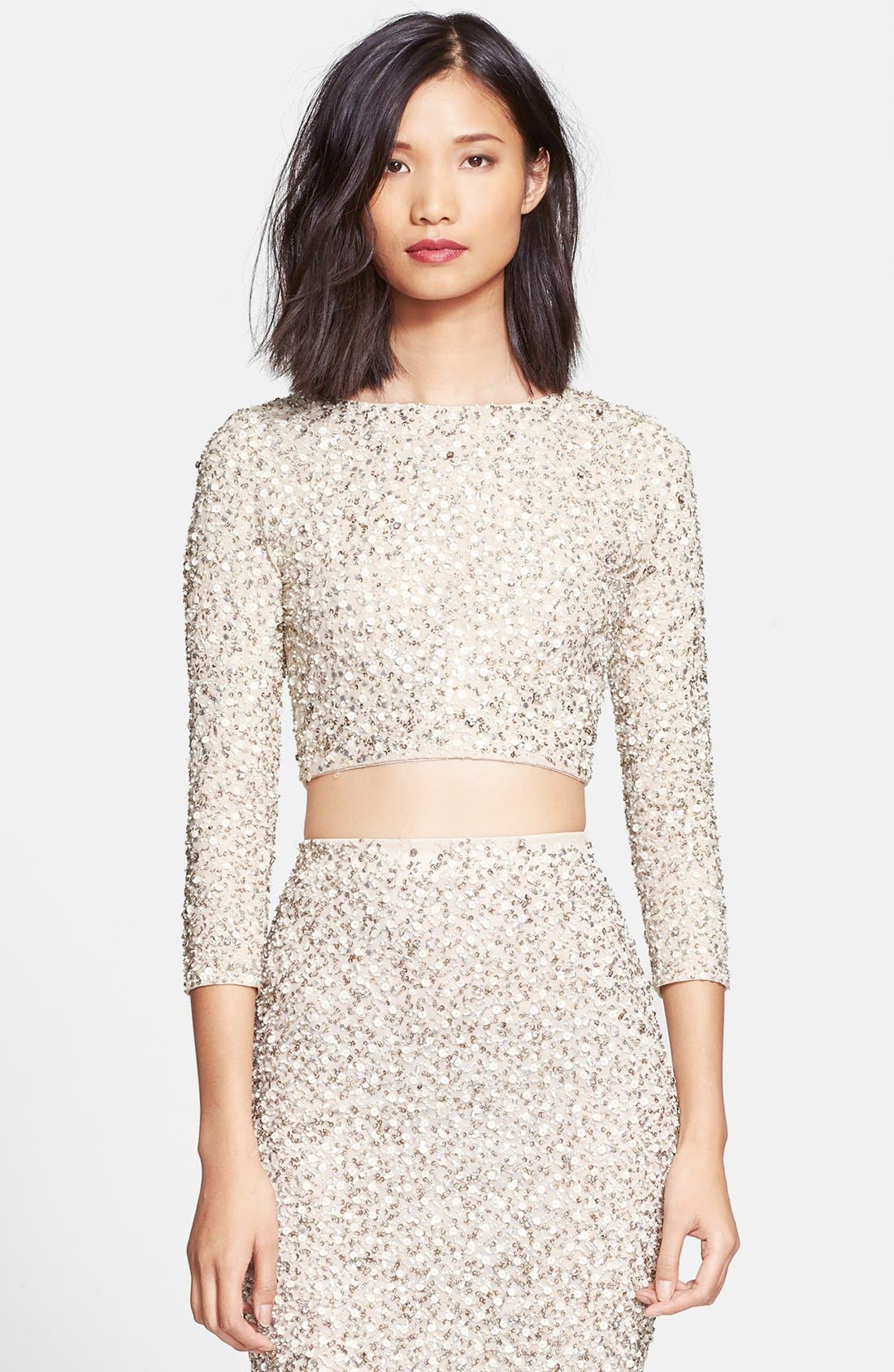 'Lacey' Embellished Crop Top,                             Main thumbnail 1, color,                             Cream/ Silver