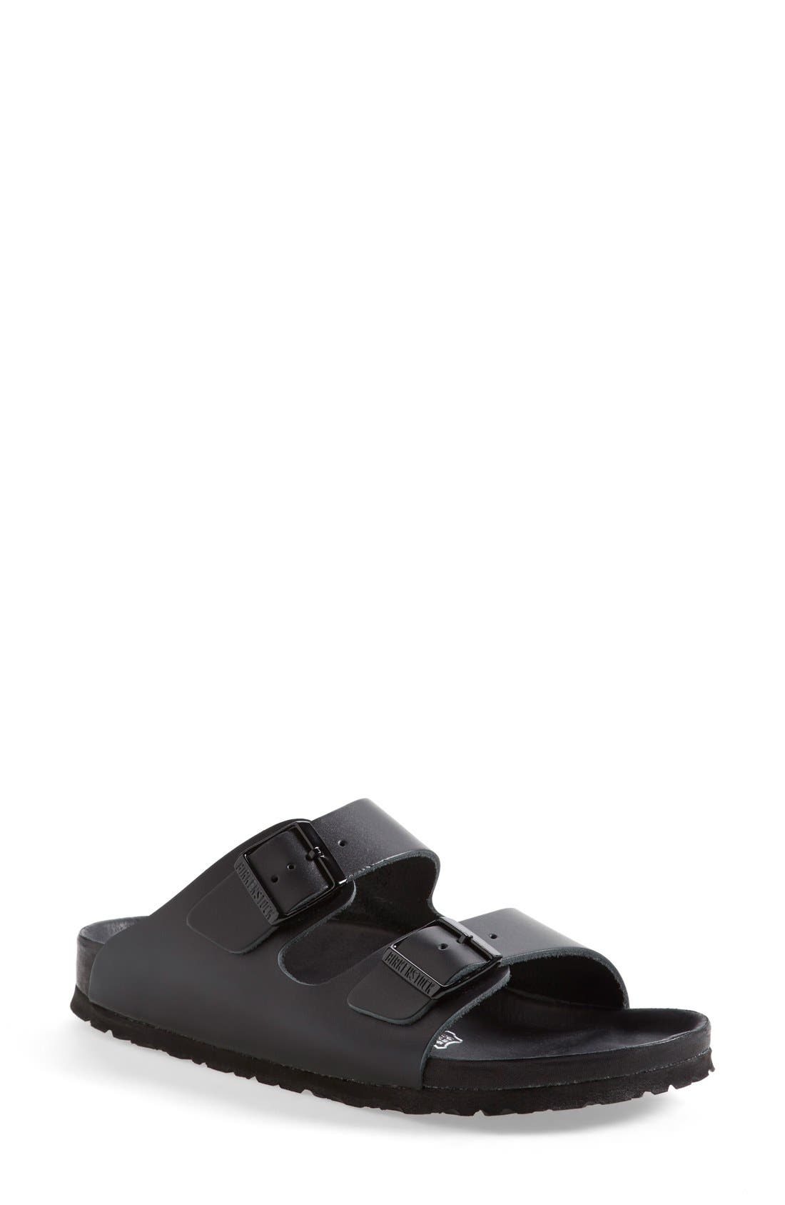 'Monterey' Leather Sandal,                             Main thumbnail 1, color,                             Black