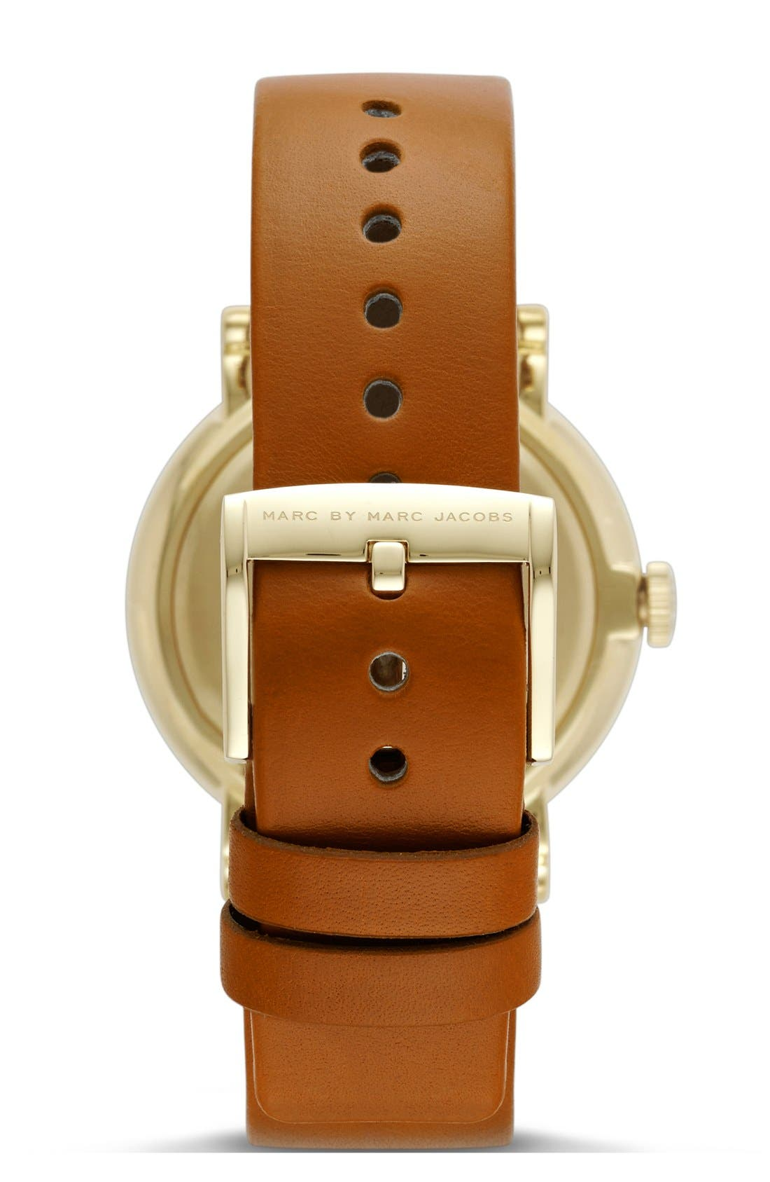 'Baker' Leather Strap Watch, 37mm,                             Alternate thumbnail 2, color,                             Tan/ Gold