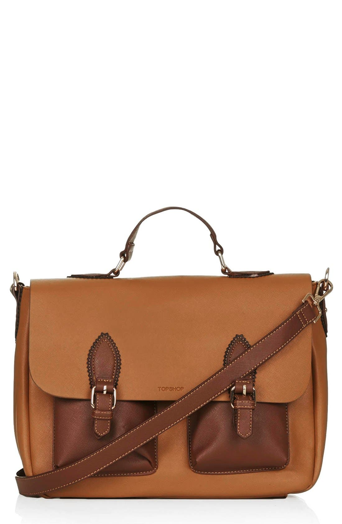 Alternate Image 1 Selected - Topshop 'Saffiano' Colorblock Satchel