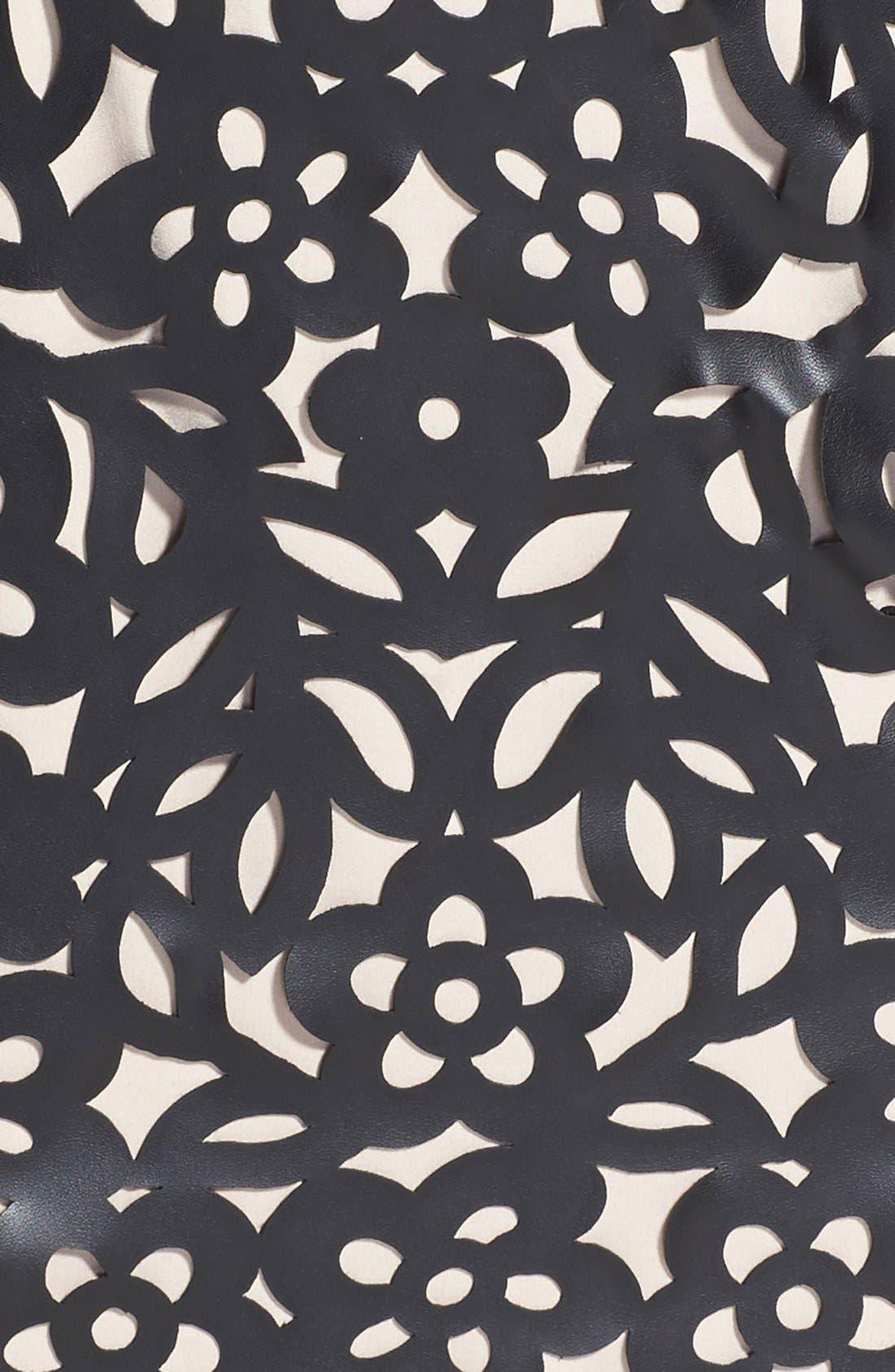 Alternate Image 4  - Nue by Shani Laser Cut Faux Leather & Ponte Sheath Dress
