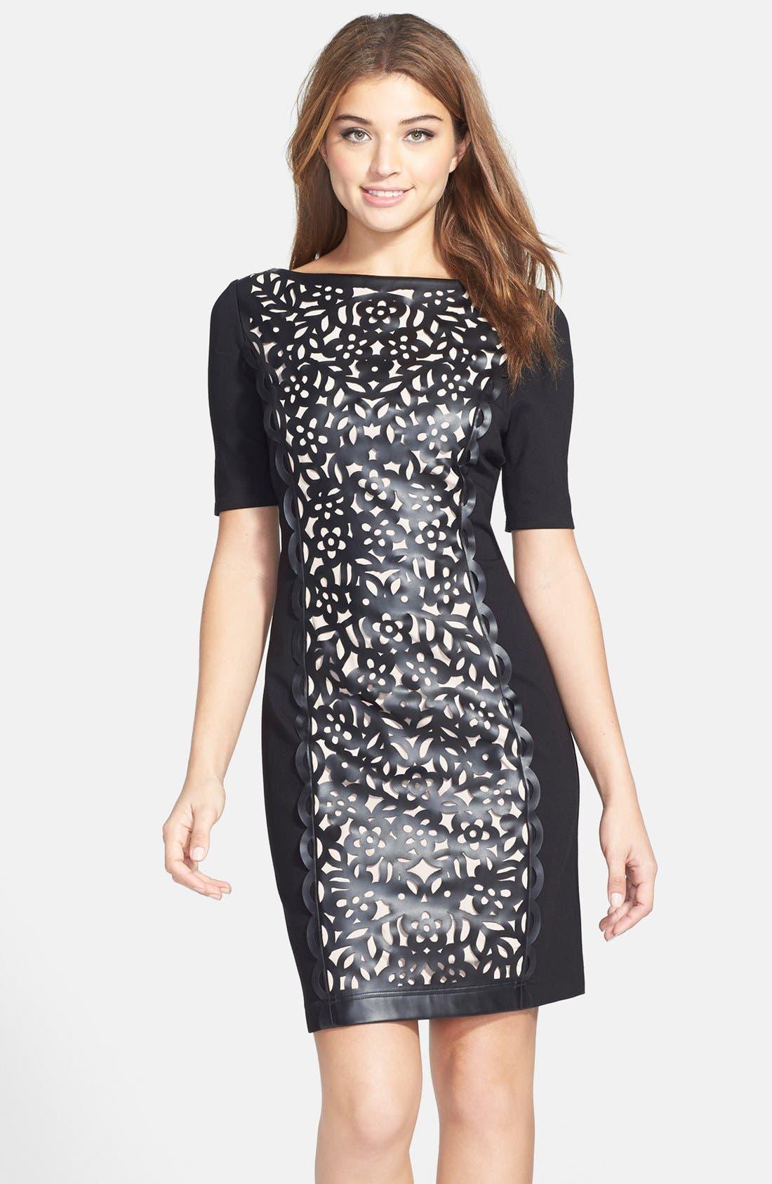 Main Image - Nue by Shani Laser Cut Faux Leather & Ponte Sheath Dress
