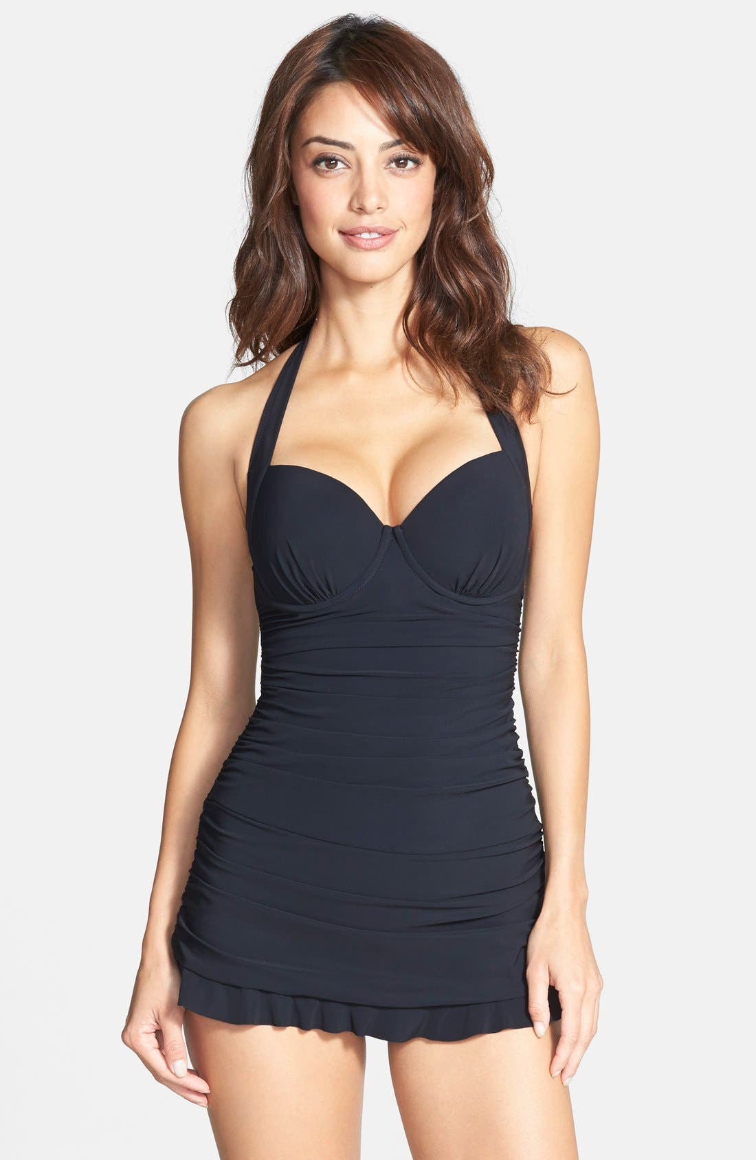 Alternate Image 1 Selected - Profile by Gottex Shirred Halter Swimdress (D-Cup)