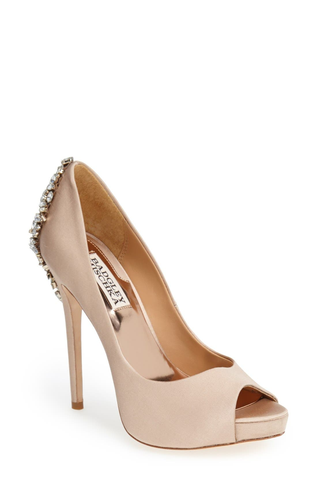 Badgley Mischka 'Kiara' Crystal Back Open Toe Pump (Women). IVORY SATN;  LATTE SATIN ...
