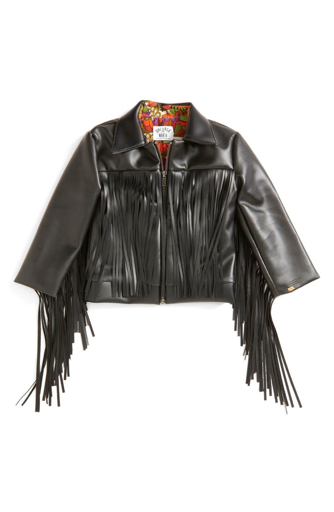 Alternate Image 2  - Salvage Maria 'Janeesa' Faux Leather Fringe Jacket (Baby Girls & Toddler Girls)