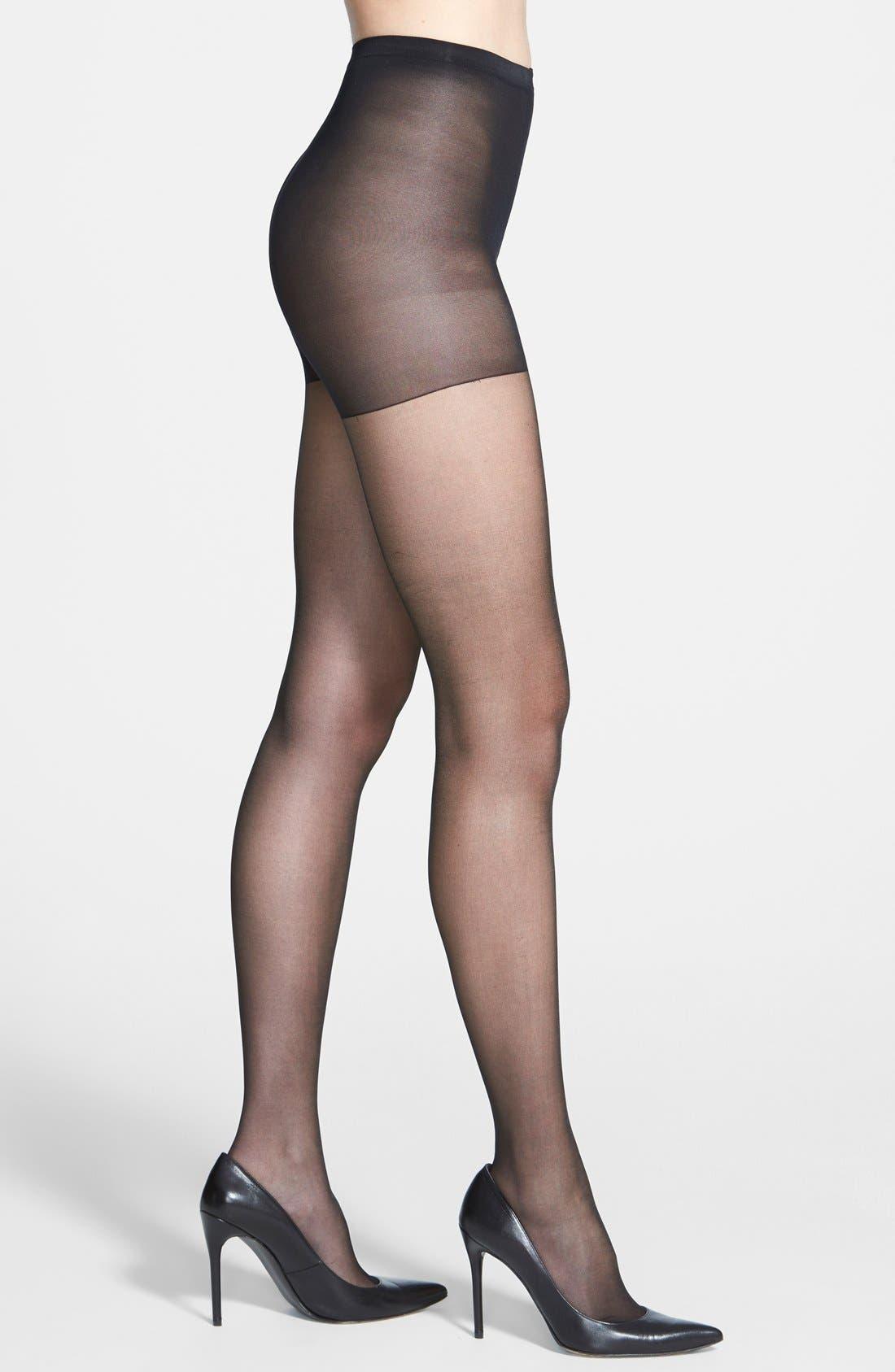 Shimmer Sheer Control Top Pantyhose,                         Main,                         color, Black