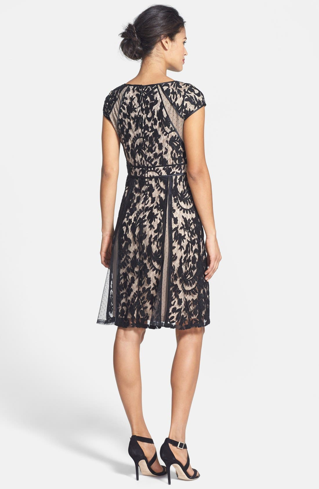 Alternate Image 2  - Adrianna Papell Lace Fit & Flare Dress (Regular & Petite)