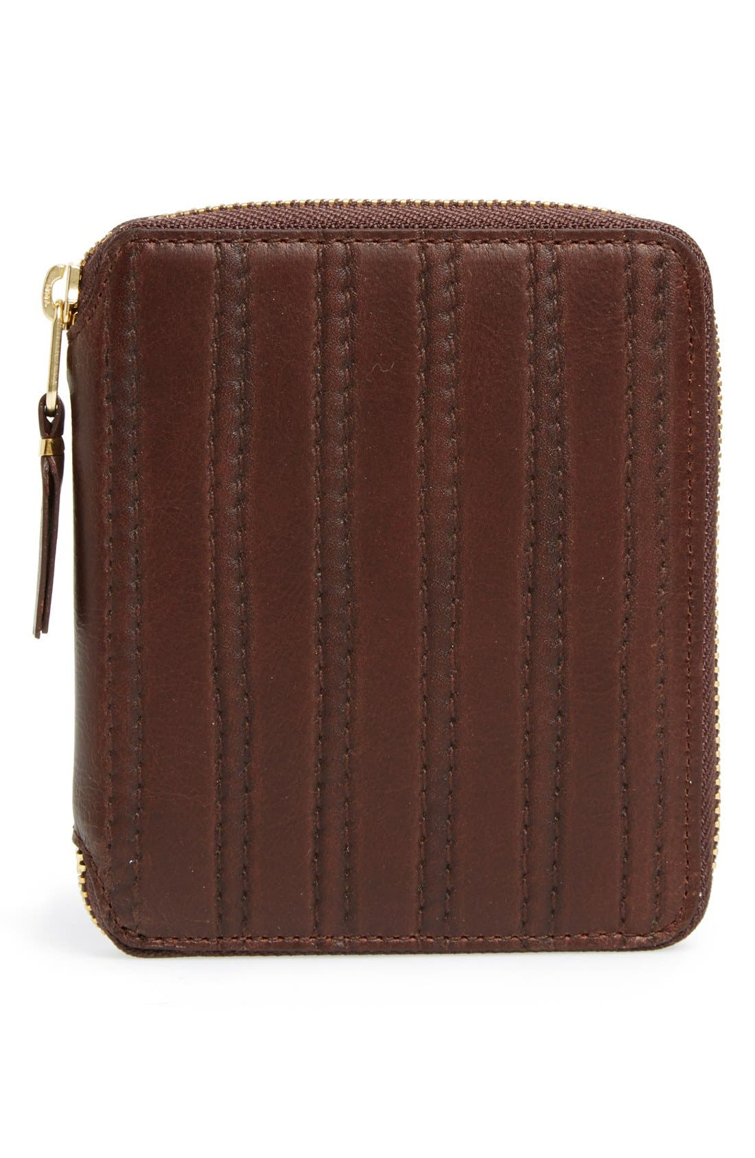 'Embossed Stitch' French Wallet,                         Main,                         color, Brown