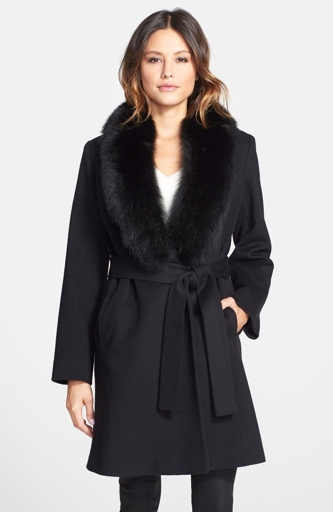 Alternate Image 1 Selected - Fleurette Wool Wrap Coat with Genuine Fox Fur Collar