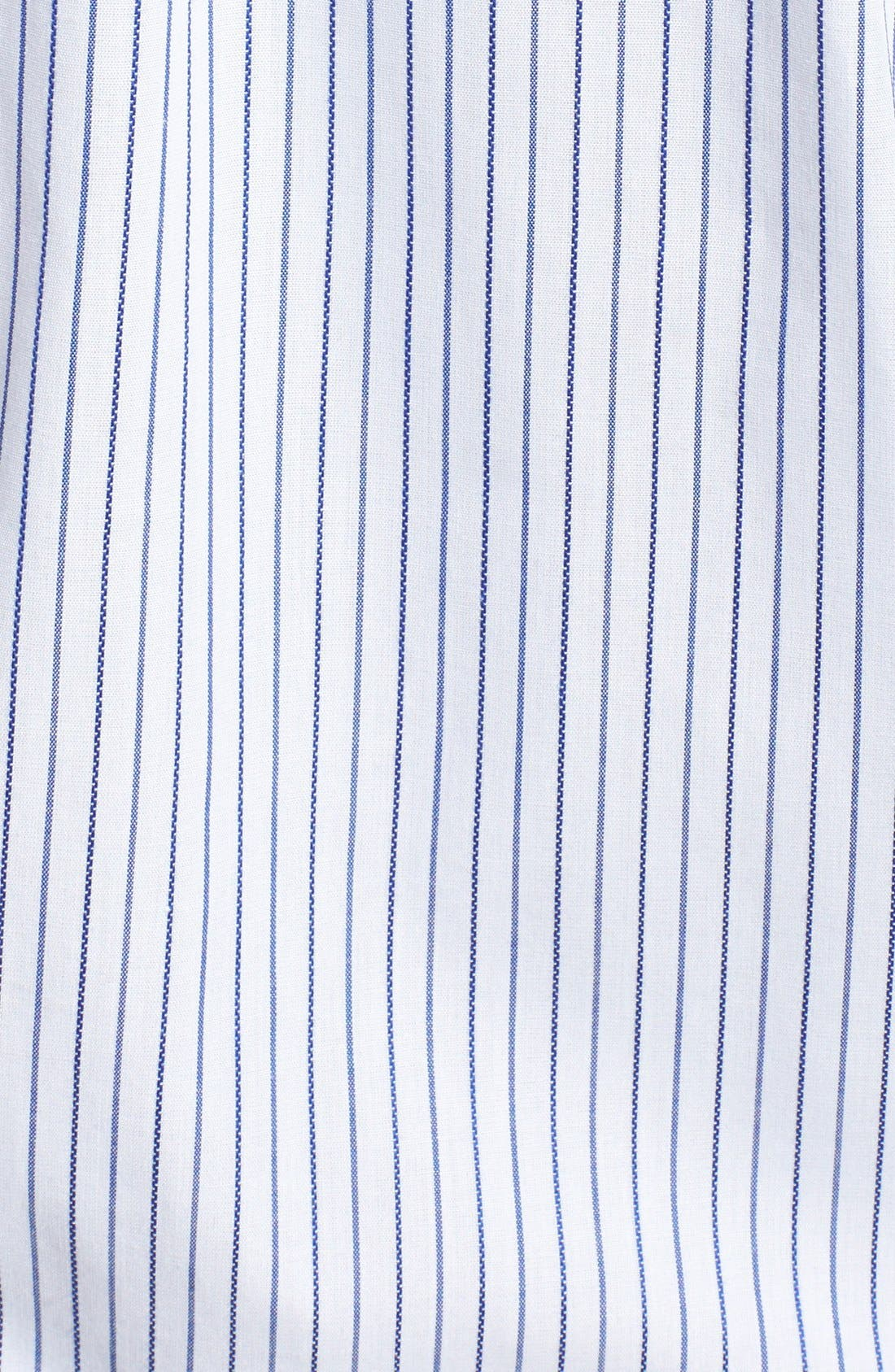 'Epic Easy Care' Classic Fit Vertical Pinstripe Wrinkle Resistant Sport Shirt,                             Alternate thumbnail 3, color,                             White/ French Blue