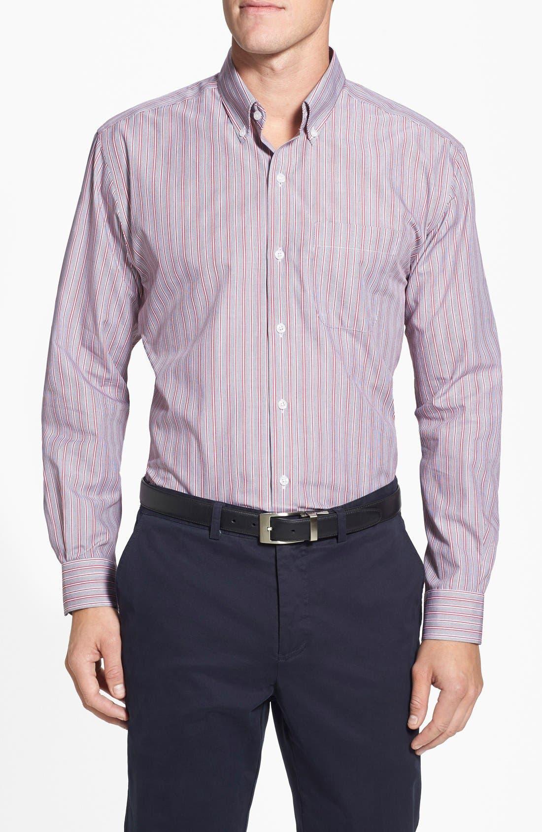 'Epic Easy Care' Classic Fit Wrinkle Resistant Stripe Sport Shirt,                         Main,                         color, Black/ Cardinal