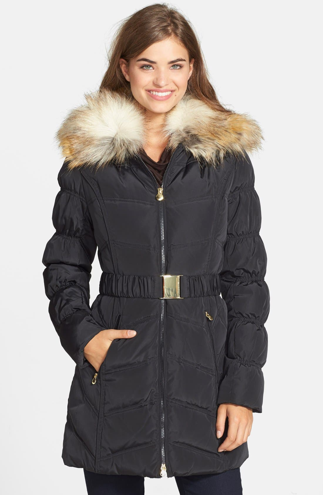 Alternate Image 1 Selected - Laundry by Shelli Segal Belted Puffer Coat with Faux Fur Trim