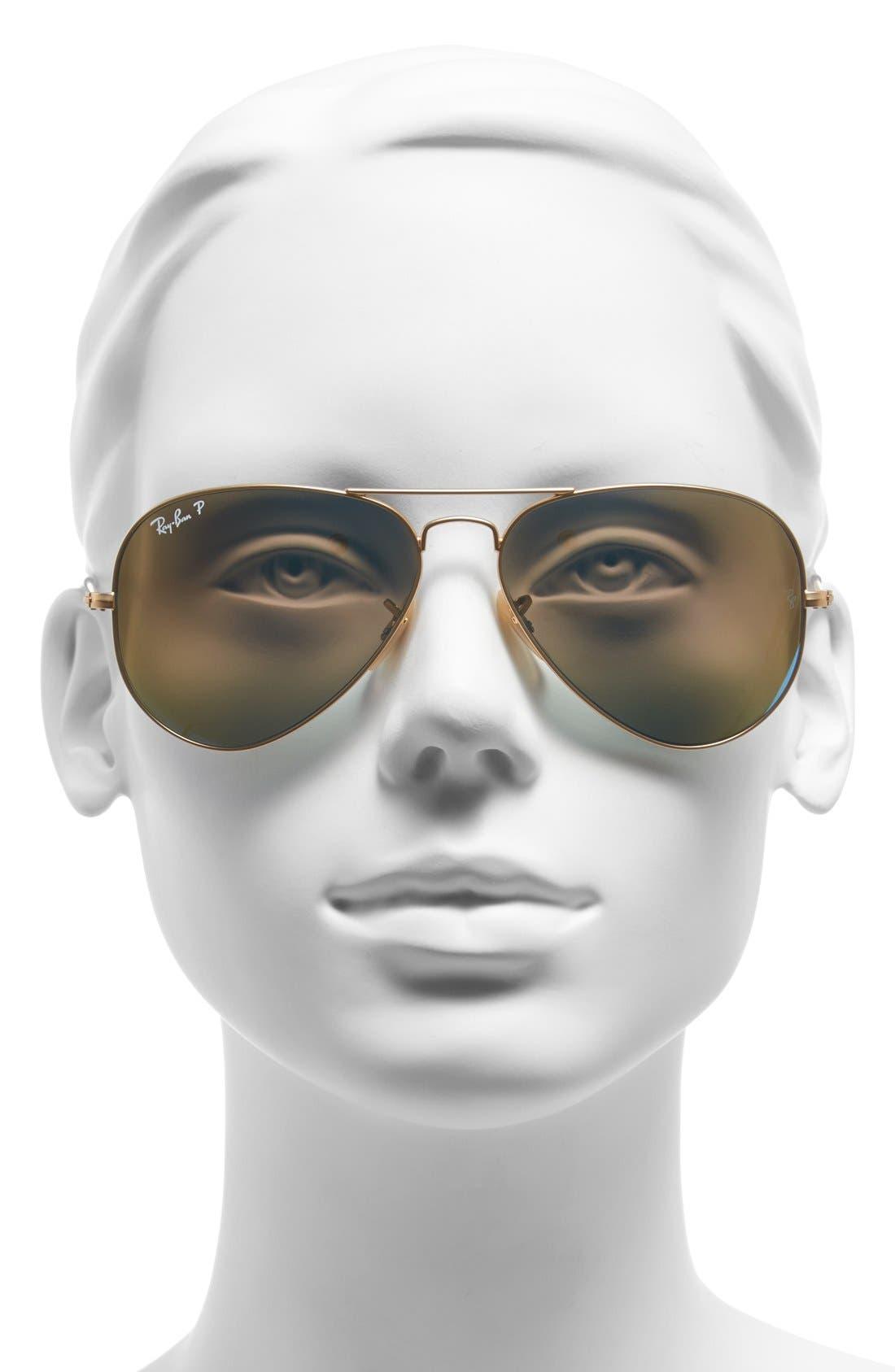 Standard Icons 58mm Mirrored Polarized Aviator Sunglasses,                             Alternate thumbnail 2, color,                             Gold/ Blue Mirror