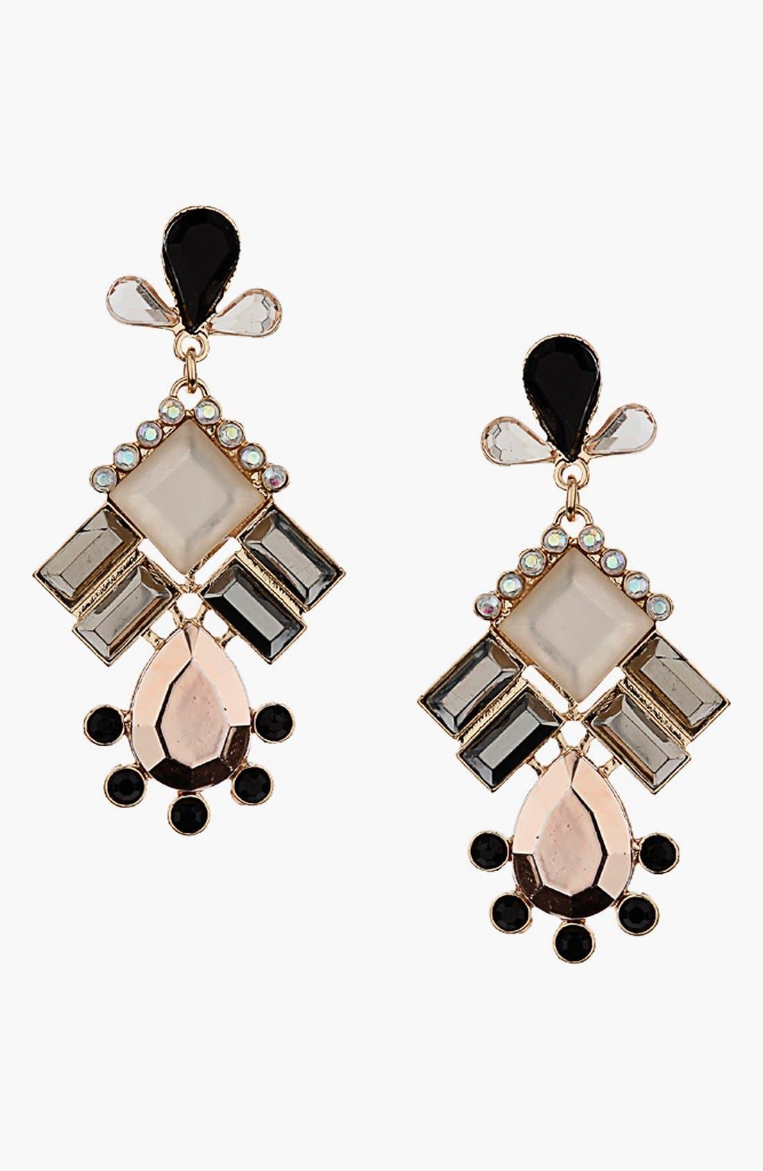 Main Image - Topshop Pink Stone Chandelier Earrings
