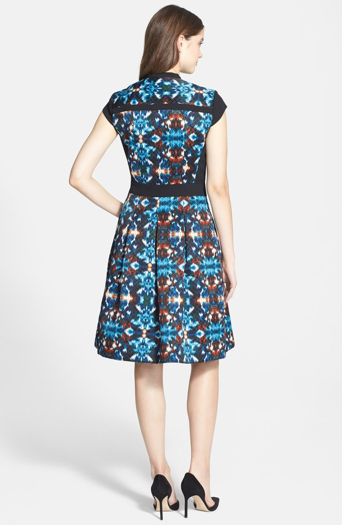 Alternate Image 2  - Adrianna Papell Ikat Jacquard Fit & Flare Dress