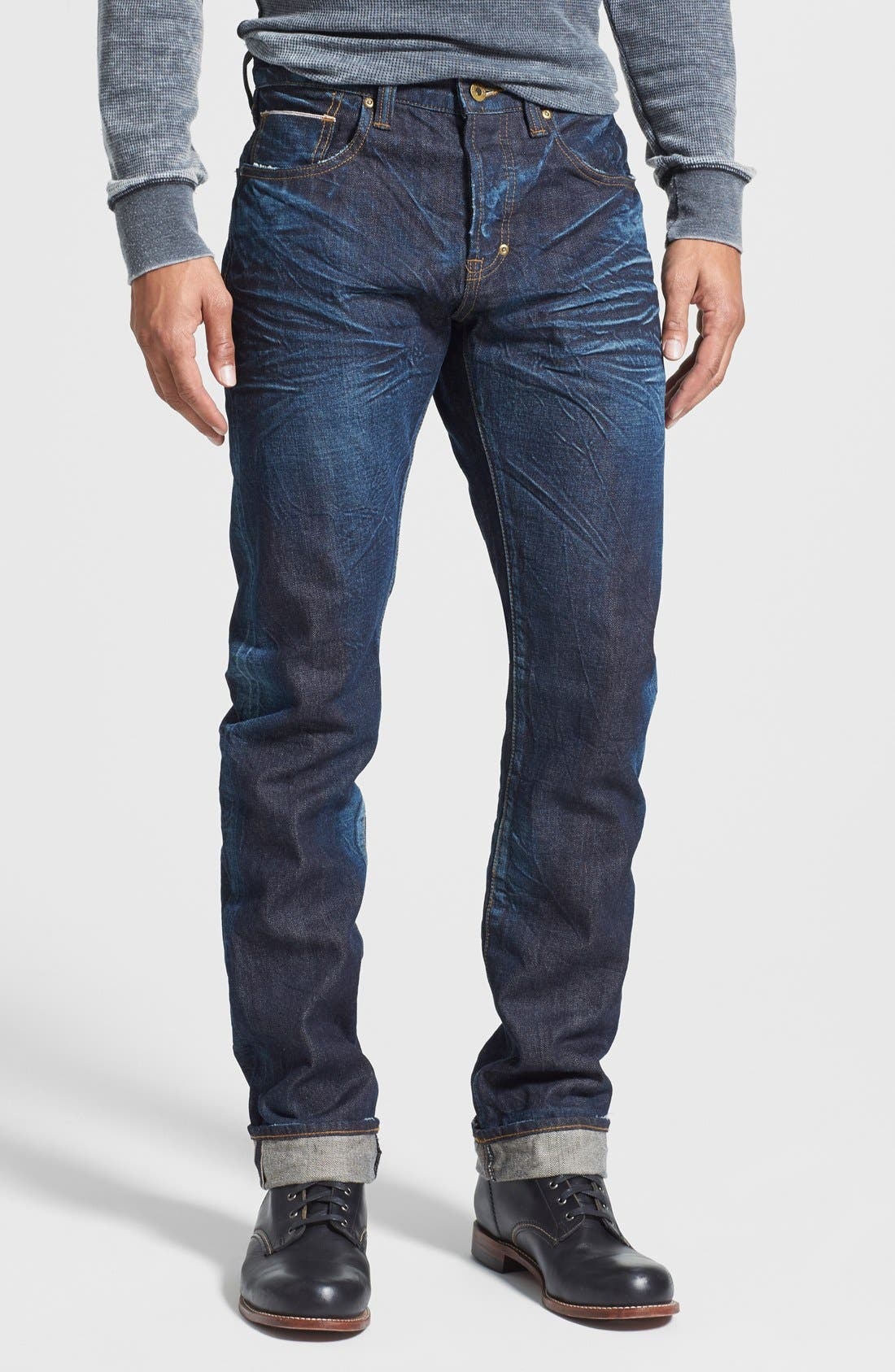 'Demon' Slim Straight Leg Selvedge Jeans,                         Main,                         color, 6 Month Wash
