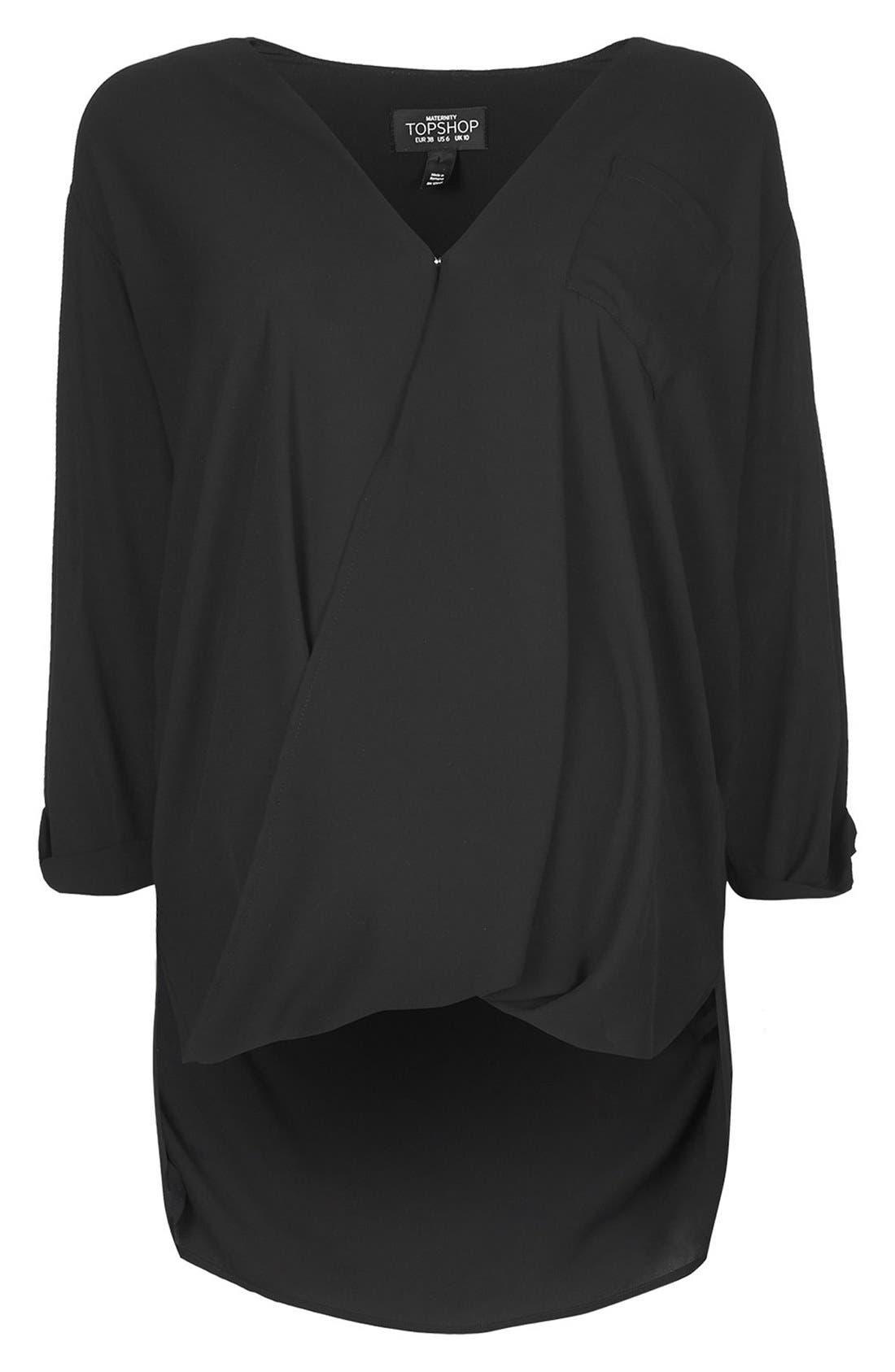 Alternate Image 1 Selected - Topshop Formal Drape Front Maternity Blouse