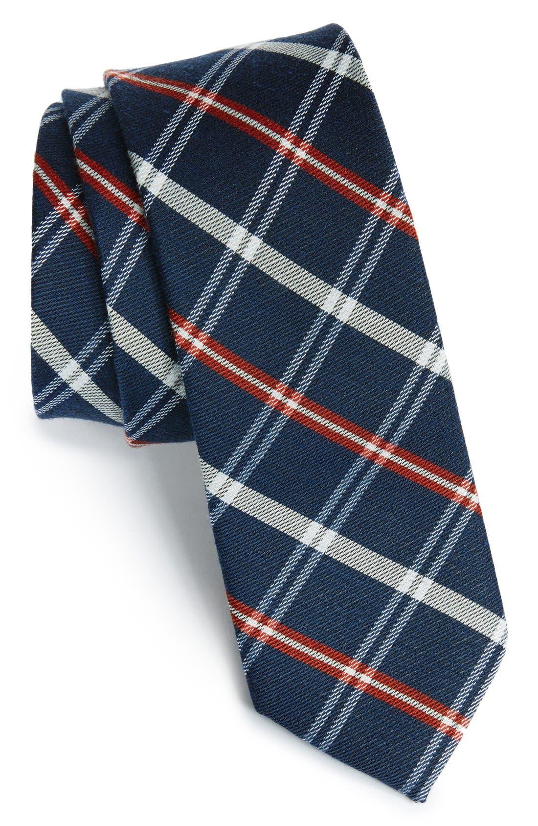 'Logan' Plaid Tie,                         Main,                         color, Navy