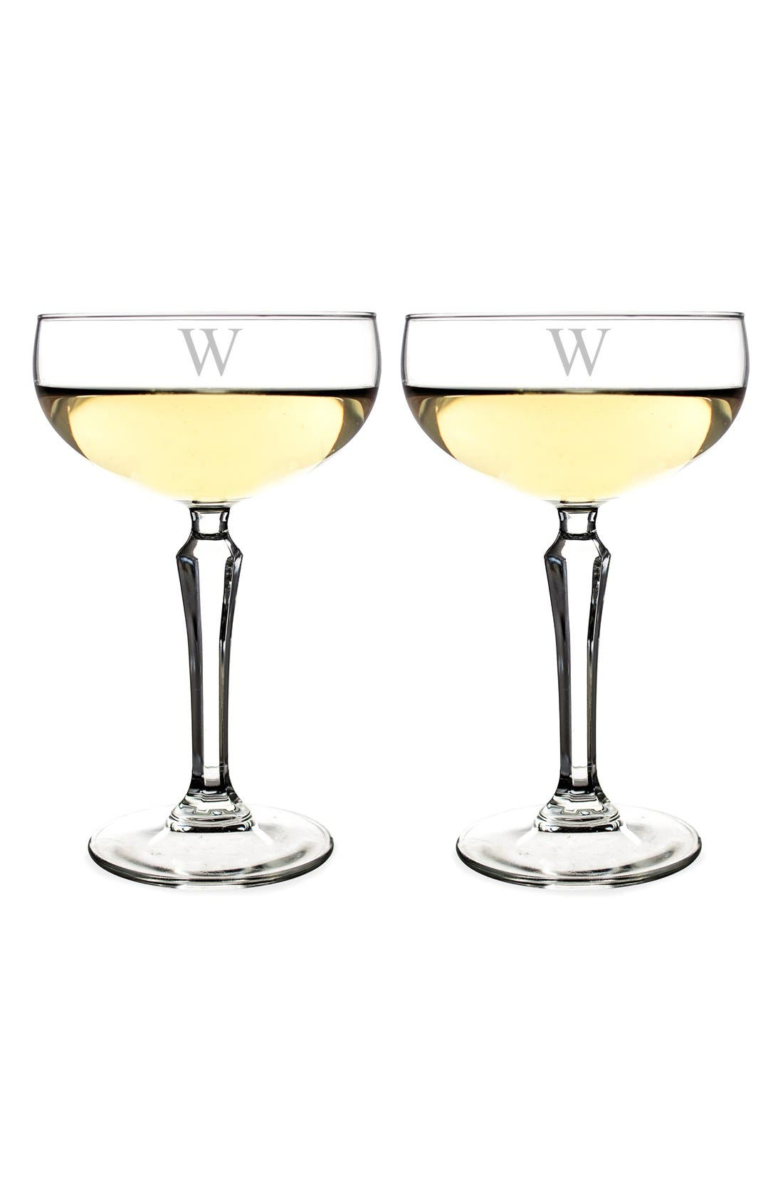 Monogram Coupe Cocktail/Champagne Glasses,                             Alternate thumbnail 3, color,