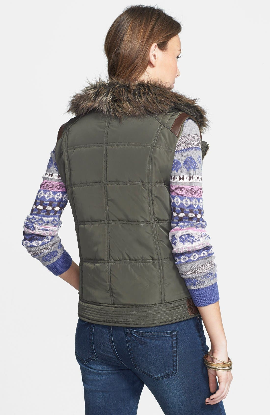Alternate Image 2  - Thread & Supply Quilted Moto Vest with Faux Fur Collar (Juniors)
