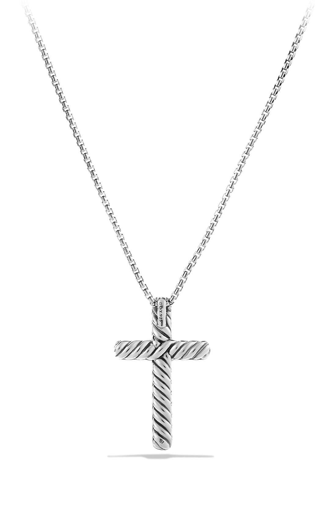 Alternate Image 2  - David Yurman 'Petite Pavé' Cross Necklace with Black Diamonds
