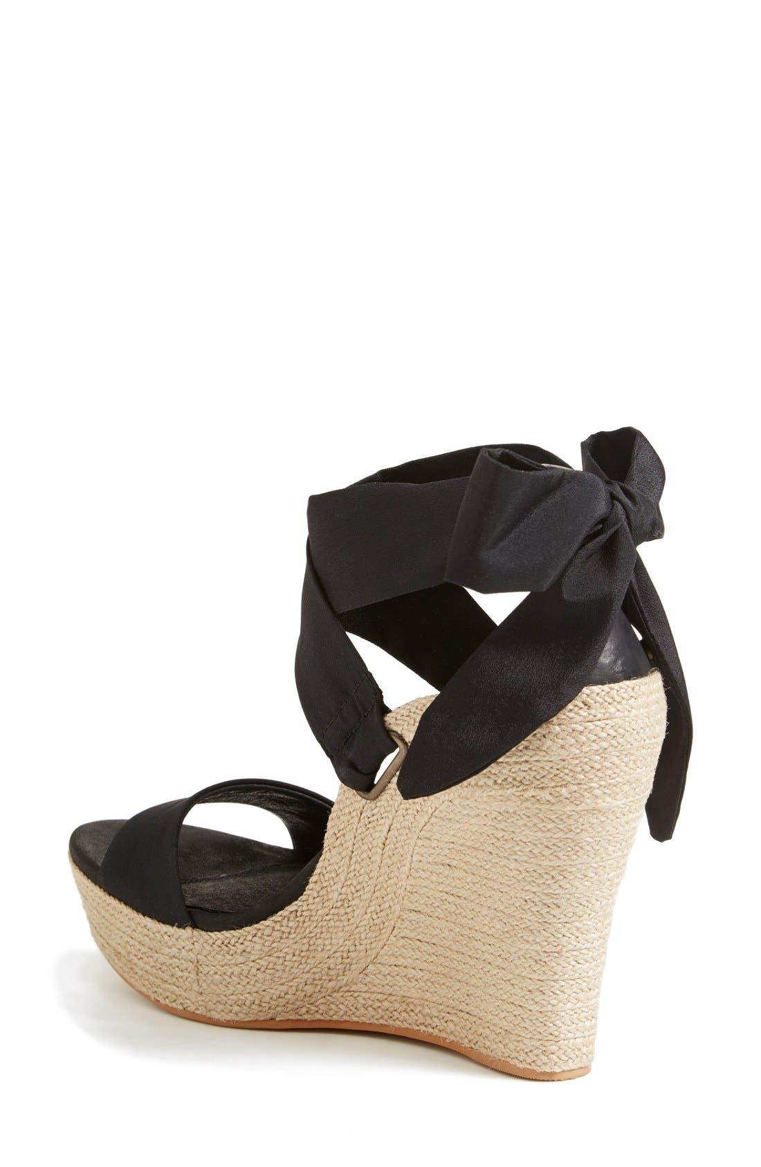 'Jules' Platform Wedge Sandal,                             Alternate thumbnail 2, color,                             Black