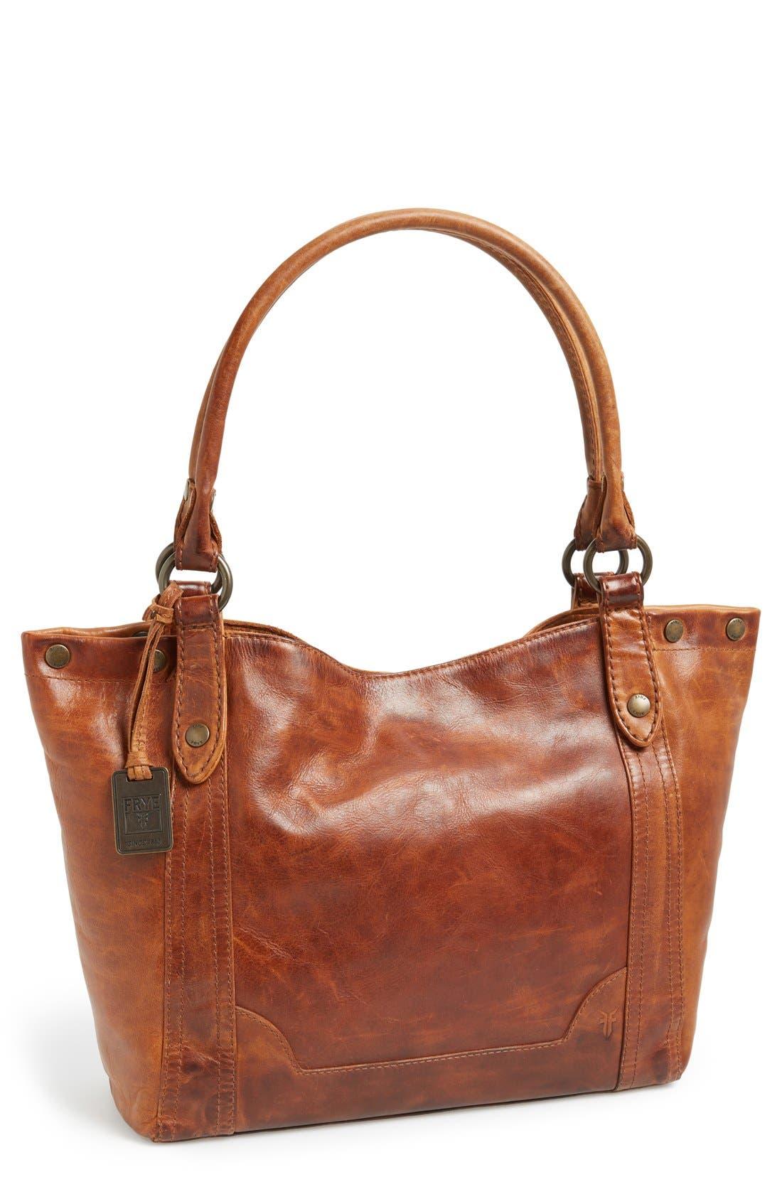 Melissa Leather Shoulder Bag,                             Main thumbnail 1, color,                             Cognac