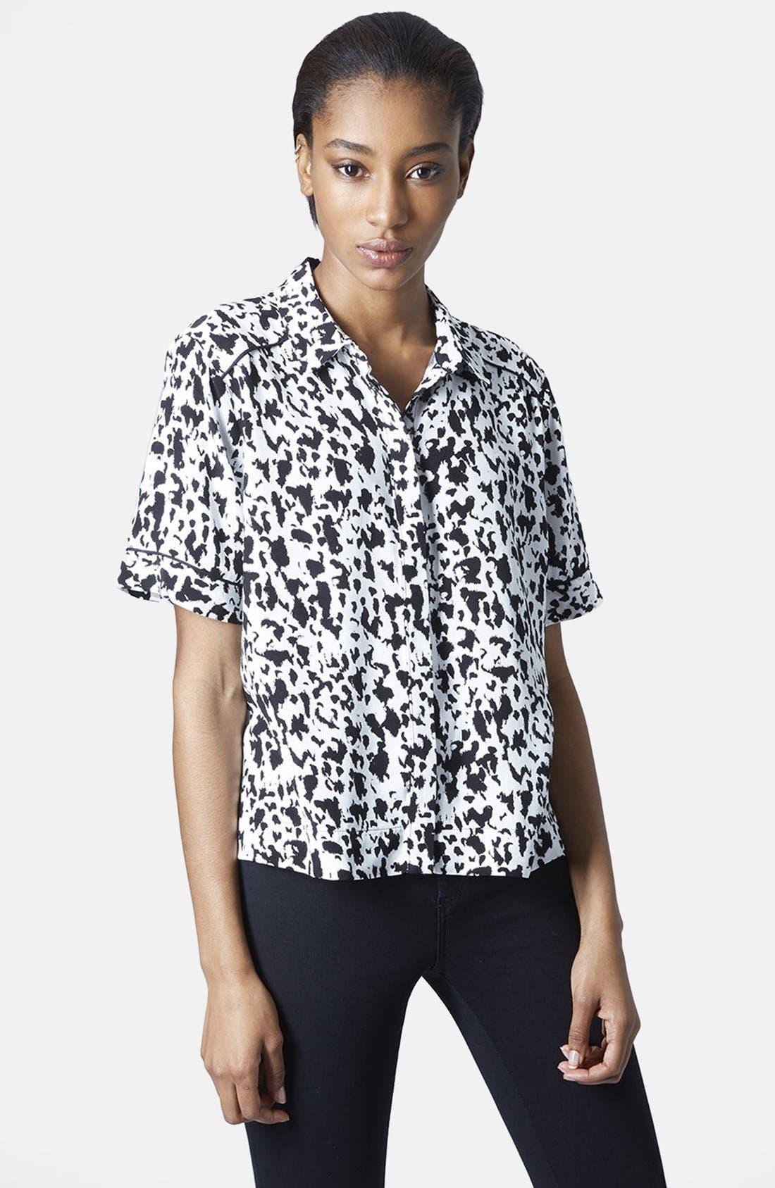 Alternate Image 1 Selected - Topshop Monochrome Animal Print Shirt