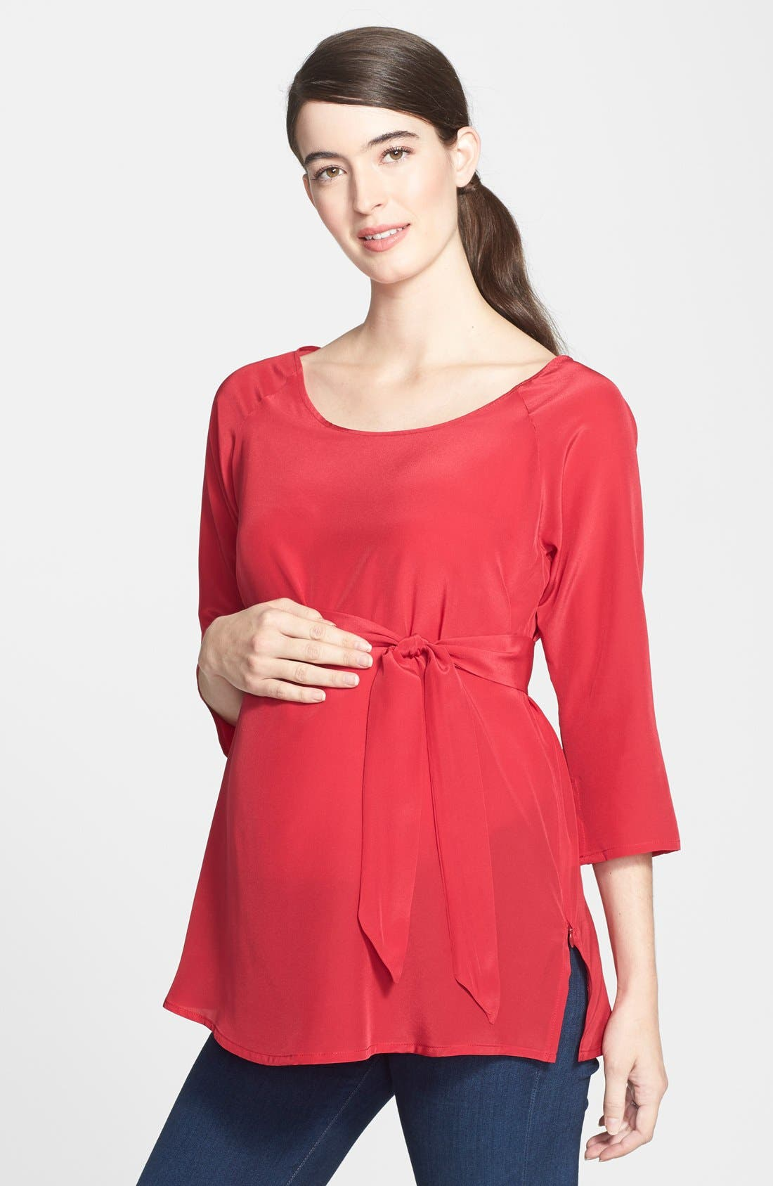 London Silk Maternity Tunic,                             Main thumbnail 1, color,                             Scarlet Red