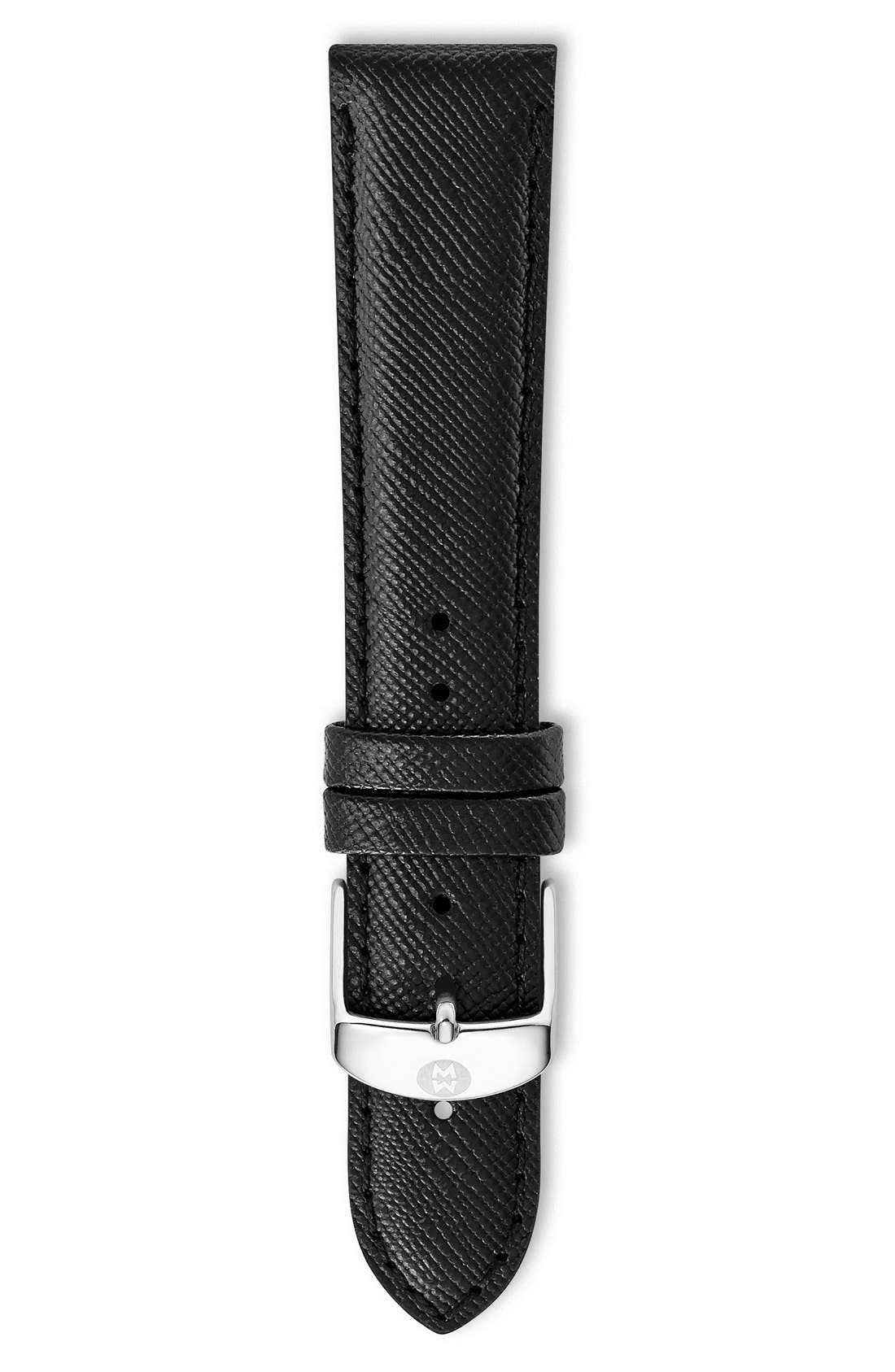 16mm Saffiano Leather Watch Strap,                             Main thumbnail 1, color,                             Jet Black