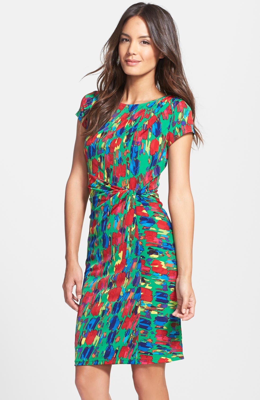 Alternate Image 1 Selected - Ellen Tracy Print Jersey Faux Wrap Sheath Dress (Regular & Petite)
