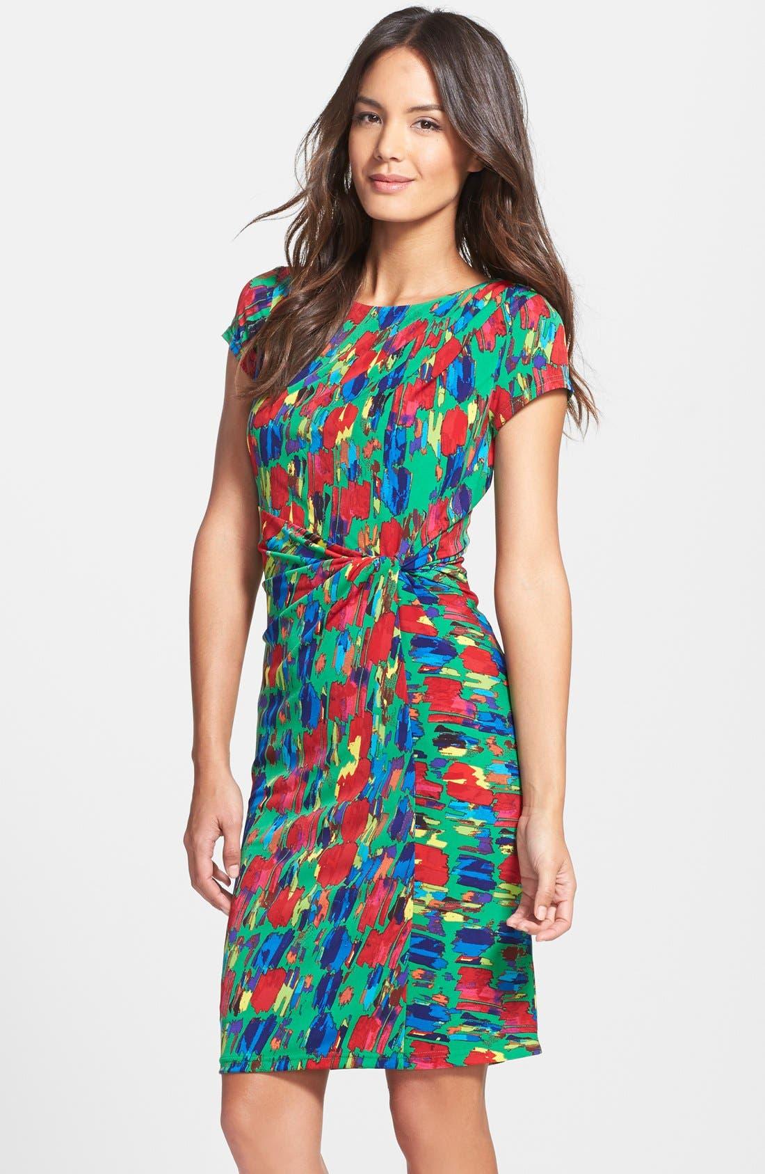 Main Image - Ellen Tracy Print Jersey Faux Wrap Sheath Dress (Regular & Petite)
