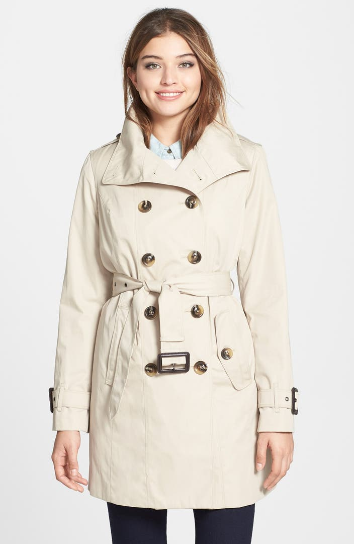 London Fog Double Breasted Trench Coat with Detachable ...