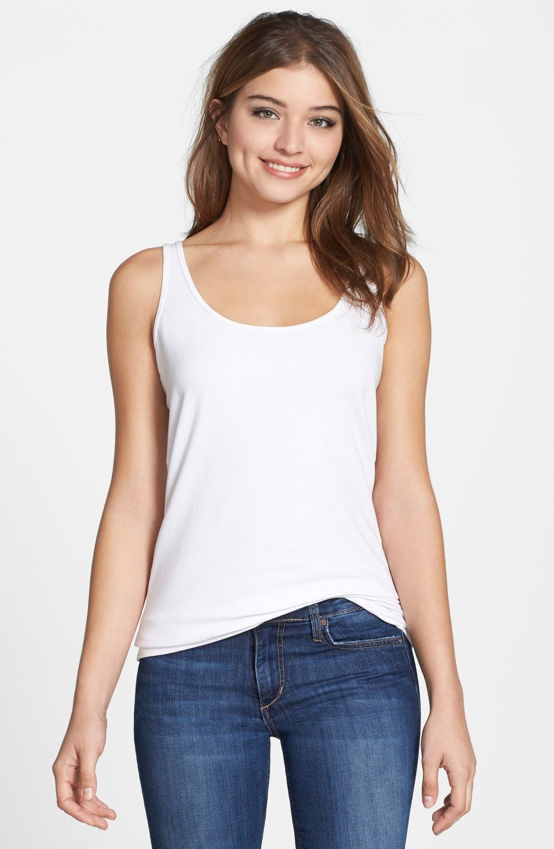 'Perfect' Scoop Neck Tank,                         Main,                         color, Paper White