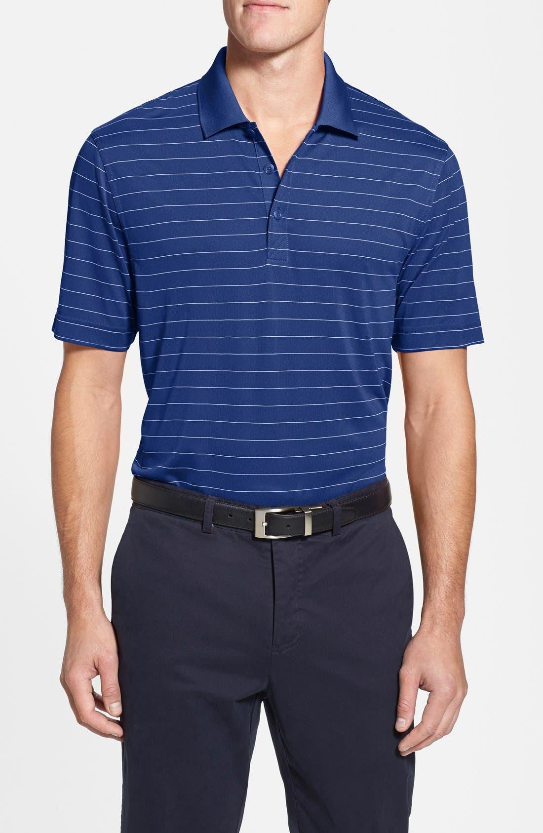 Franklin Stripe DryTec<sup>®</sup> Polo,                         Main,                         color, Tour Blue/ White