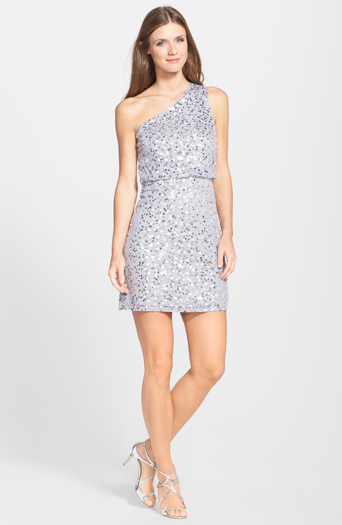 Main Image - JS Boutique One Shoulder Sequin Blouson Dress
