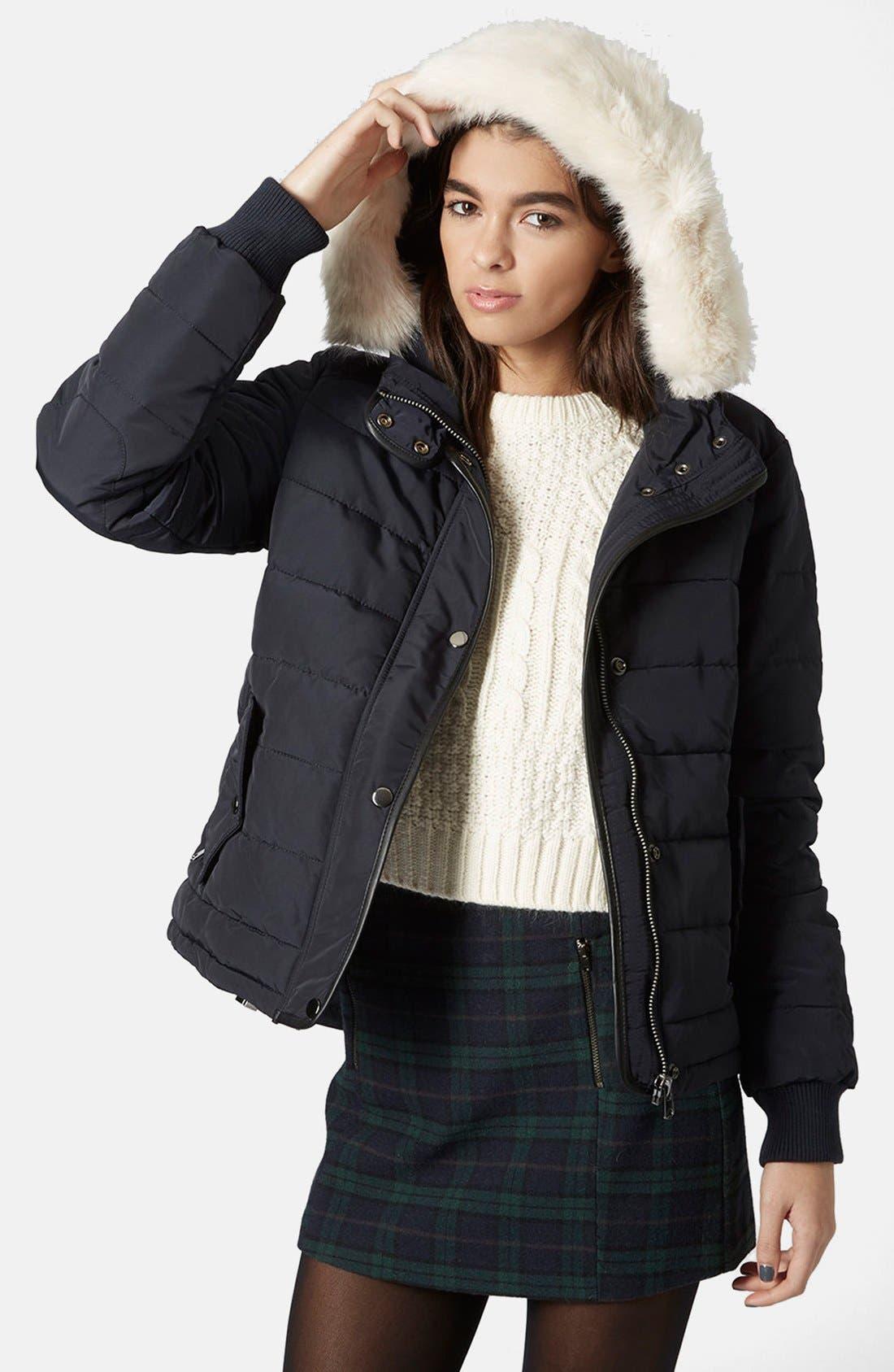 Alternate Image 1 Selected - Topshop Faux Fur Trim Puffer Jacket