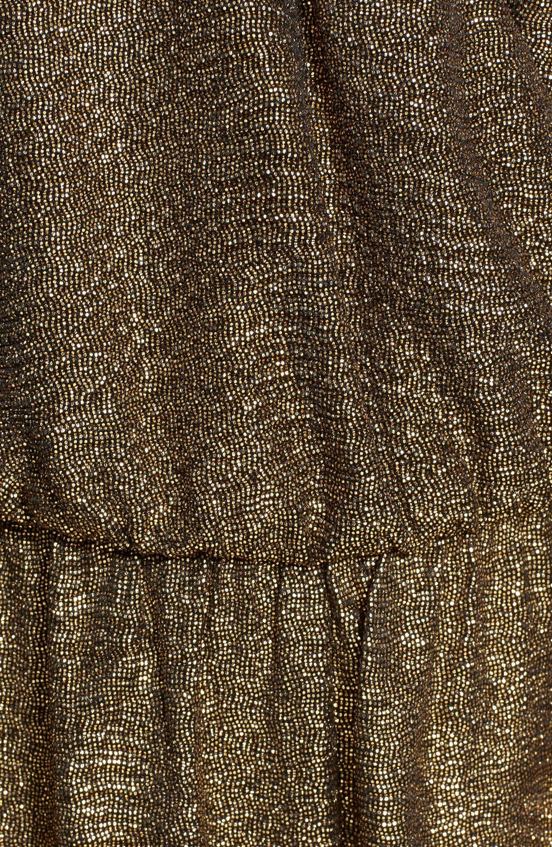 Metallic Surplice Halter Jumpsuit,                             Alternate thumbnail 3, color,                             Gold