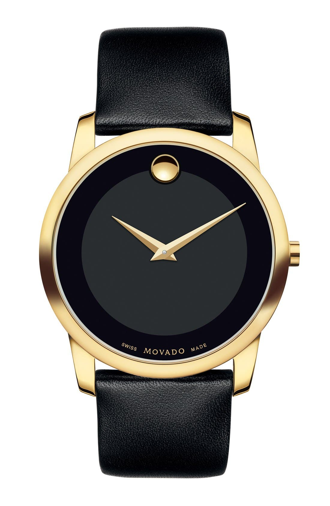 'Museum' Leather Strap Watch, 40mm,                         Main,                         color, Black/ Gold