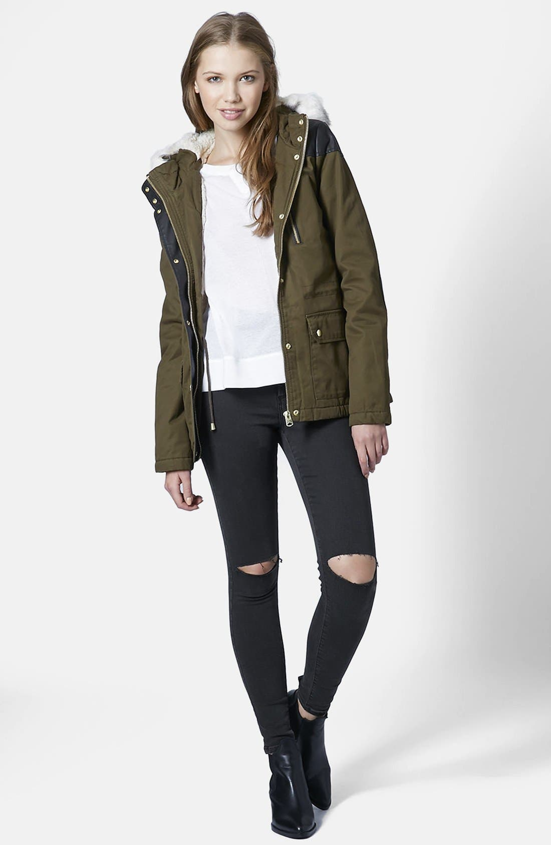 Alternate Image 5  - Topshop 'Joni' Ripped Skinny Jeans (Black)