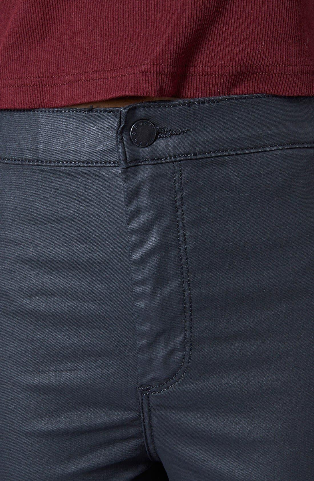 Alternate Image 4  - Topshop Moto 'Joni' Coated Skinny Jeans (Black)