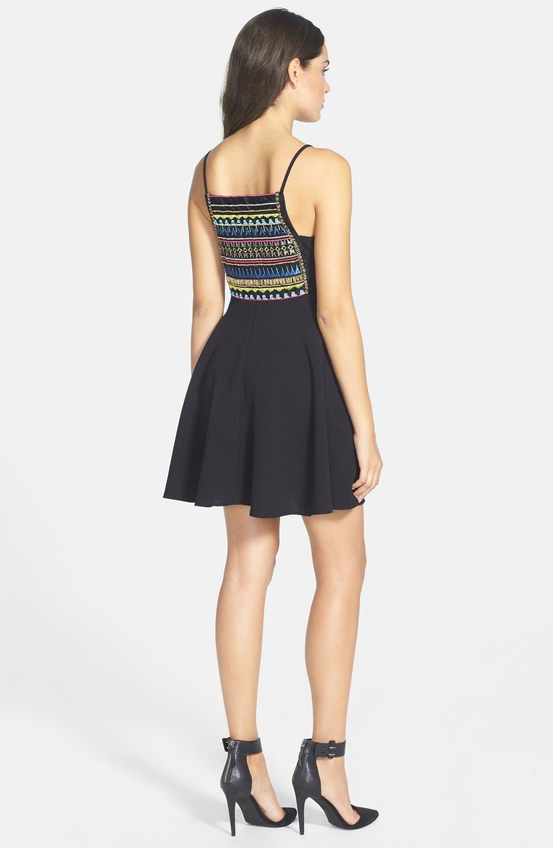 Alternate Image 2  - Basil Lola Embroidered Skater Dress (Juniors)