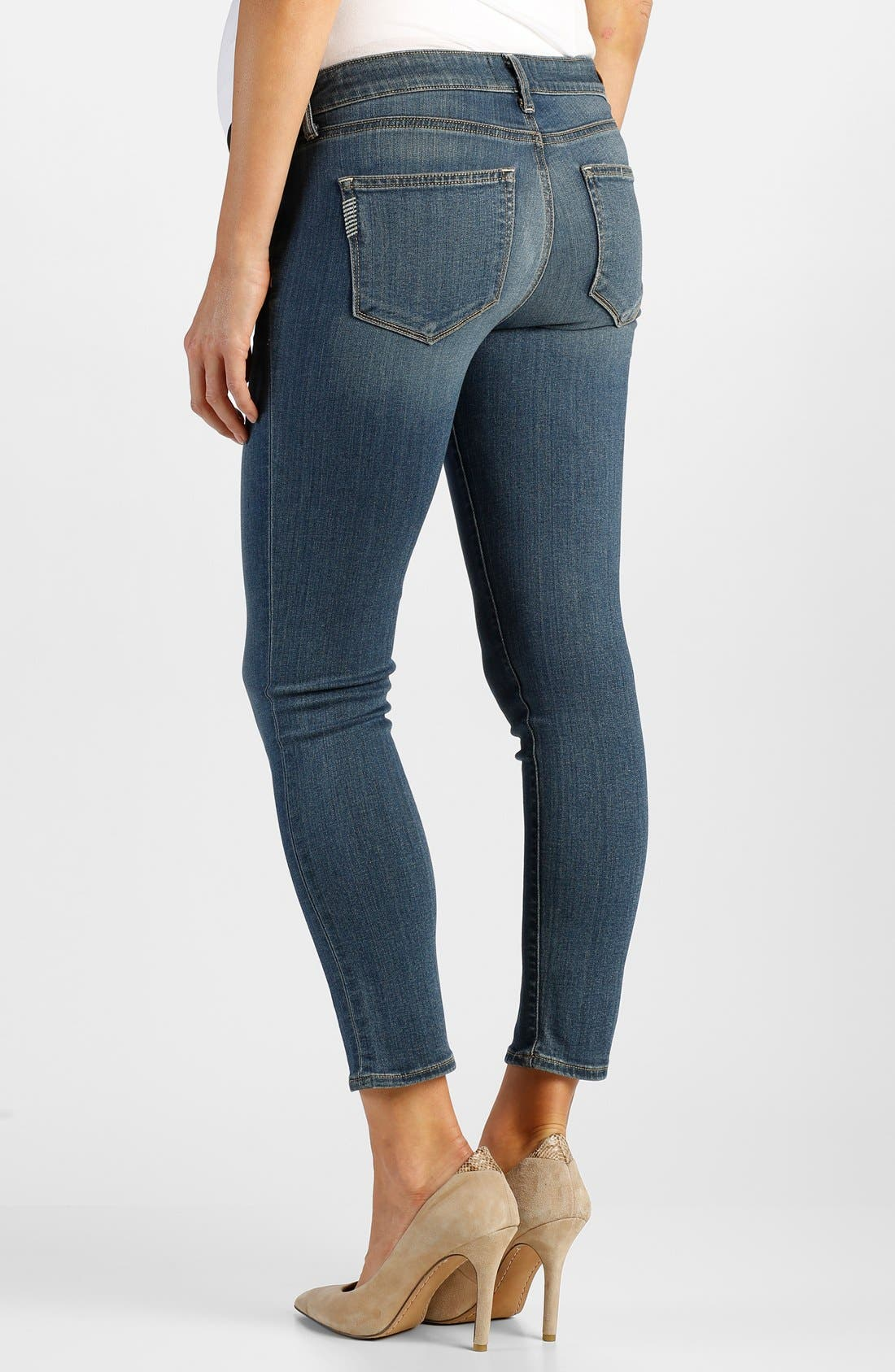 Alternate Image 2  - Paige Denim 'Verdugo' Maternity Skinny Jeans with Side Gussets (Tristan Blue)