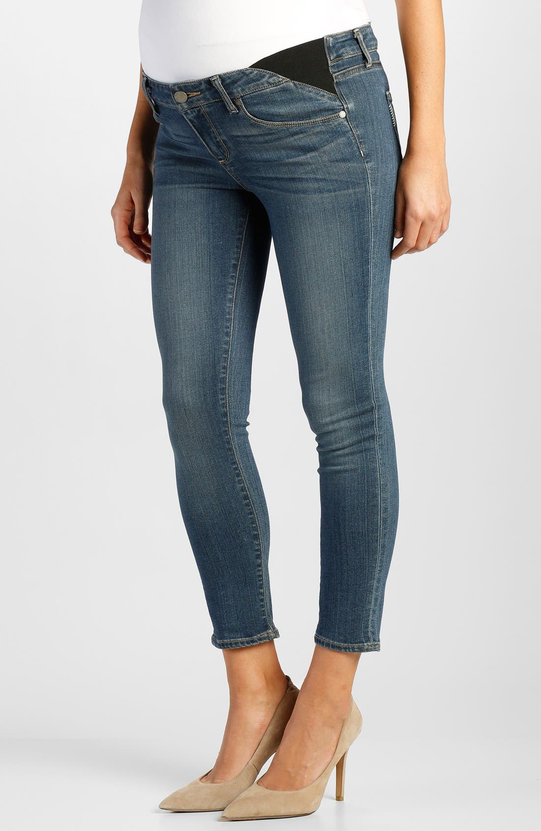 Main Image - Paige Denim 'Verdugo' Maternity Skinny Jeans with Side Gussets (Tristan Blue)
