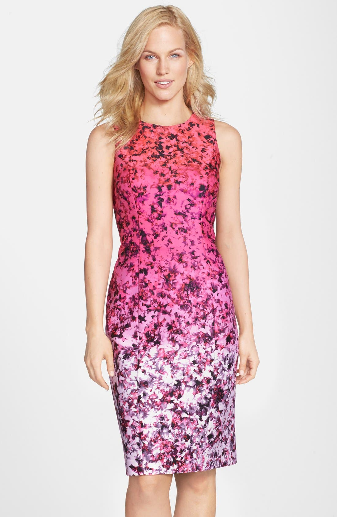 Main Image - Vince Camuto Ombré Floral Print Sleeveless Sheath Dress (Regular & Petite)