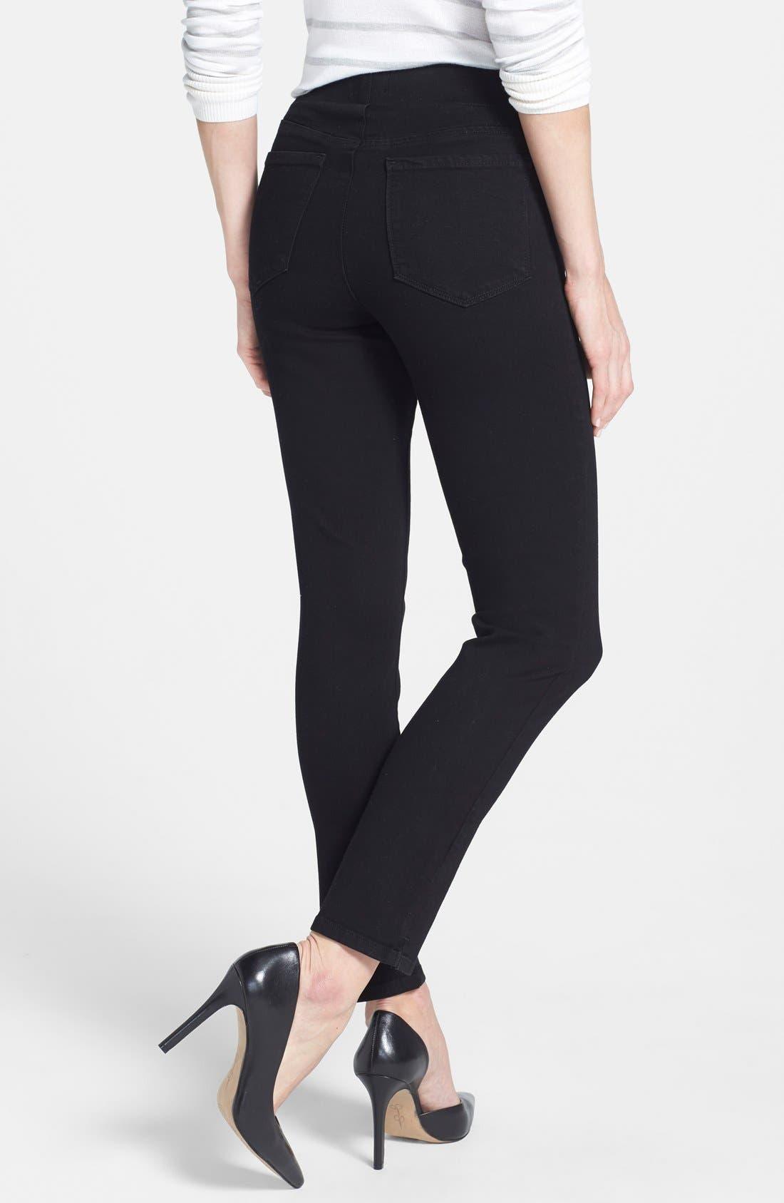 Alternate Image 2  - NYDJ Alina Stretch Ankle Jeans (Black) (Regular & Petite)