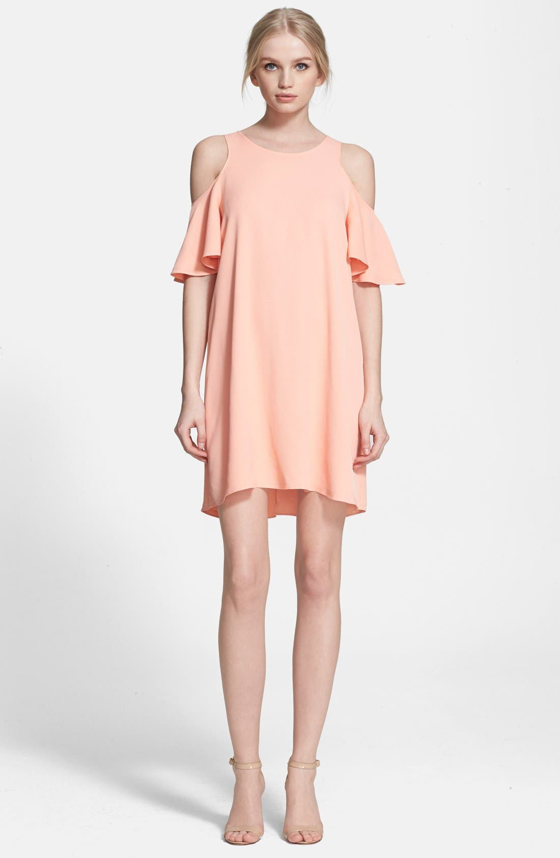 Alternate Image 1 Selected - Rachel Zoe 'Duvall' Cold Shoulder Ruffle Shift Minidress
