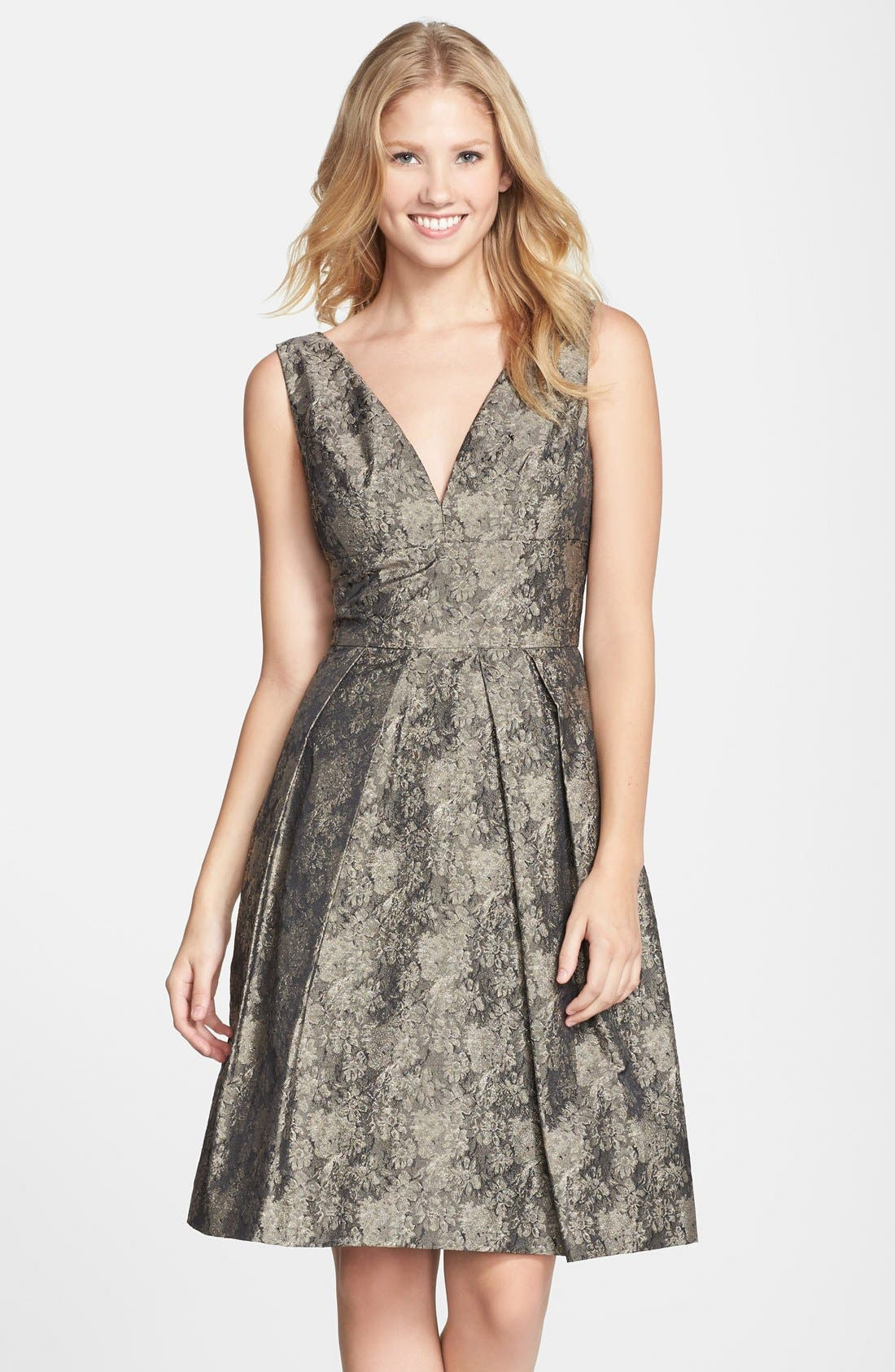 Alternate Image 1 Selected - Vera Wang Jacquard Fit & Flare Dress