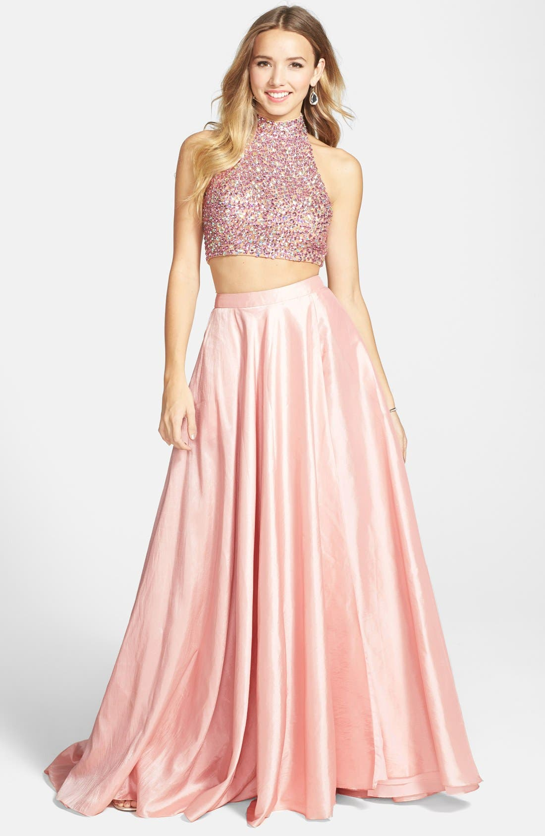 Main Image - Sherri Hill Sequin Crop Halter Tank & Skirt