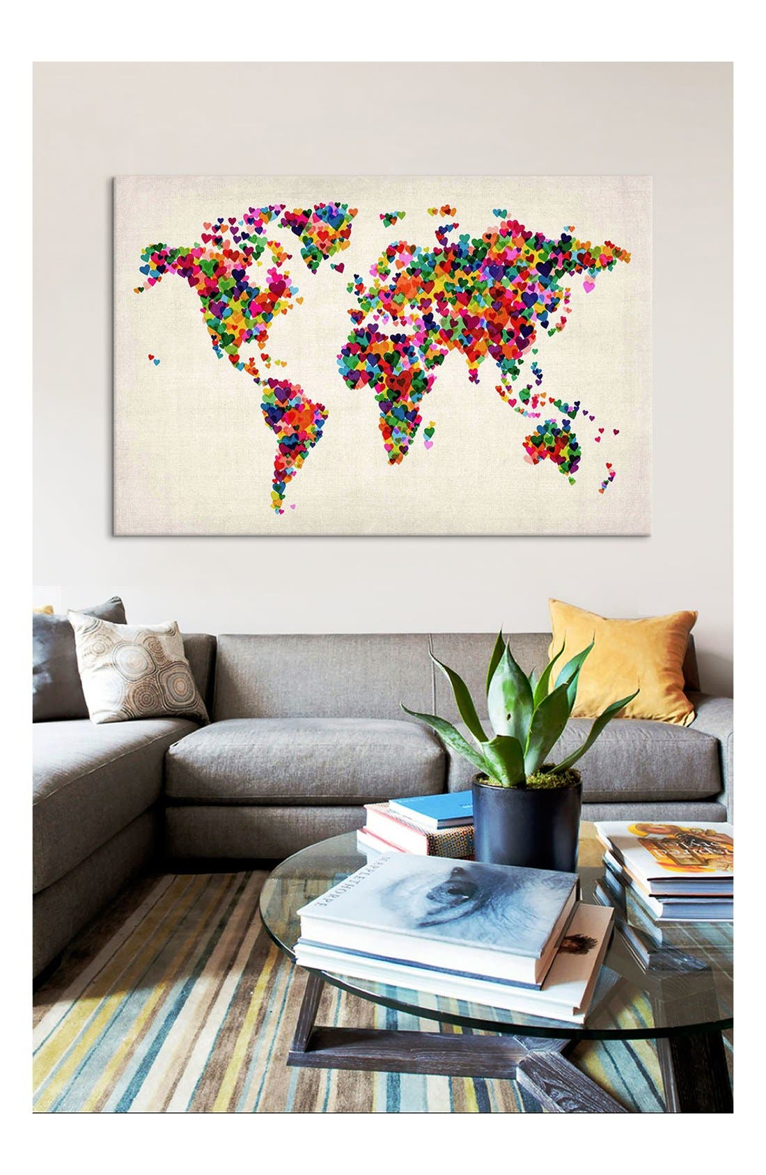 'World Map Hearts - Michael Thompsett' Giclée Print Canvas Art,                             Alternate thumbnail 2, color,                             White/ Multi